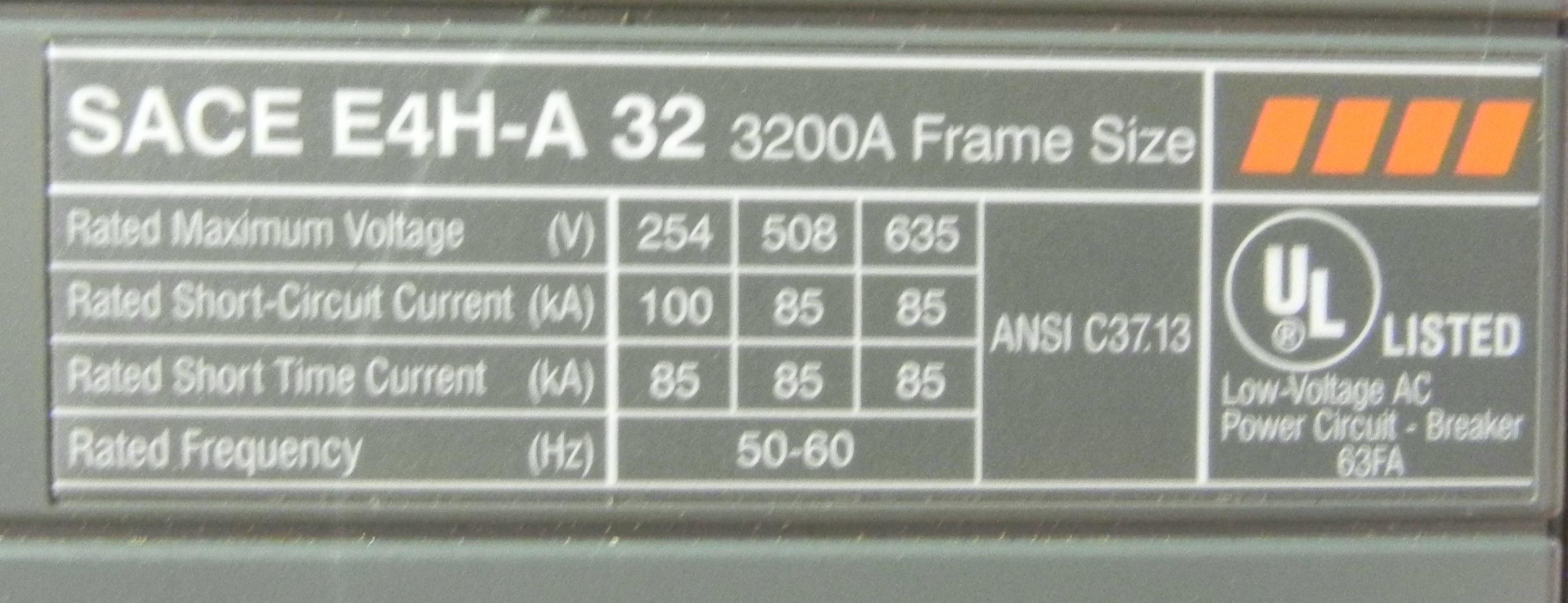 Abb power breaker sace e4h a32 3200a ebay for Sace contact