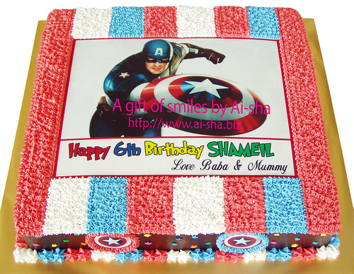 Birthday Cake Edible Image Captain America