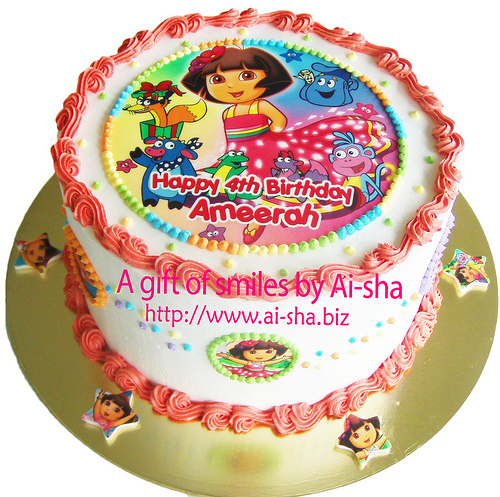 Rainbow Cake Edible Image Dora