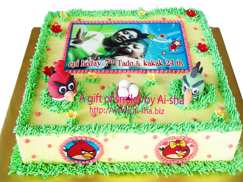 Birthday Cake Edible Image Anry Birds