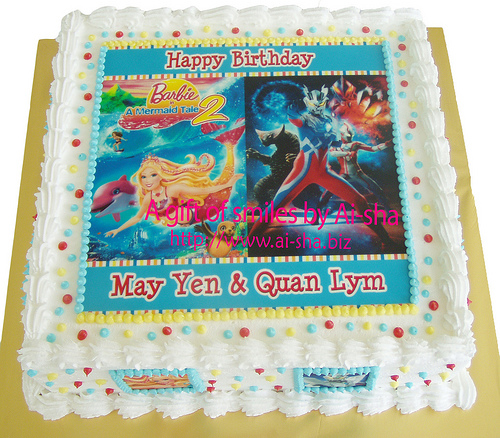Birrhday Cake Edible Image Barbie & Ultraman