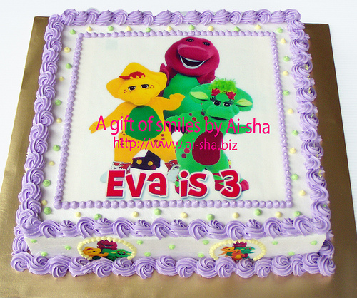 Birthday Cake Edible Image Barney and Friends