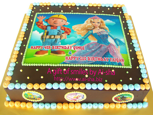 Birthday Cake Edible Image Bob the Builder & Barbie