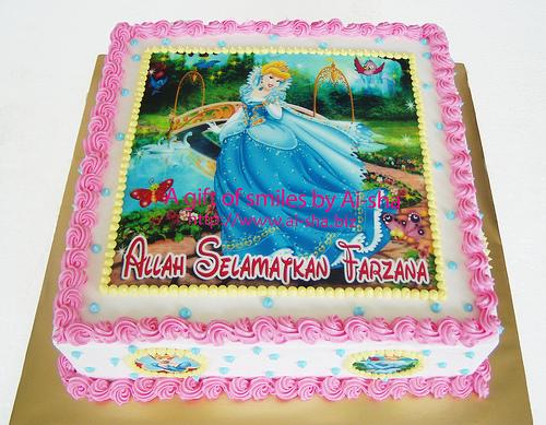 Birthday Cake Edible Pictures : Birthday Cake Edible Image Cinderella - Aisha Puchong Jaya