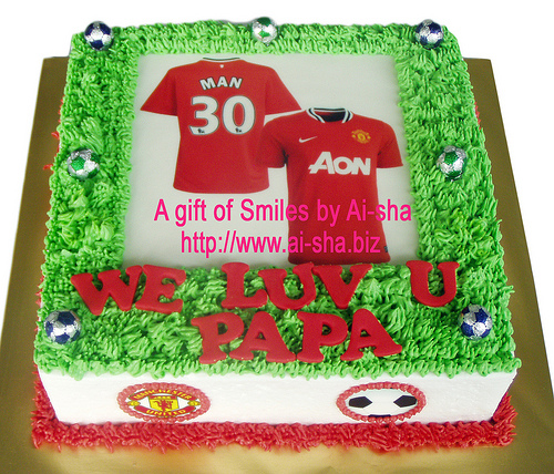 Edible Cake Images Nj : Birthday Cake Edible Image Jersey Manchester United Kek ...
