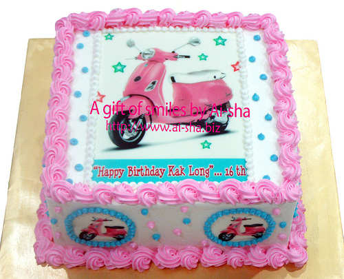 Birthday Cake Edible Image Pink Vespa