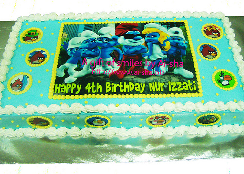 Birthday Cake Edible Image Smurfs and Angry Birds