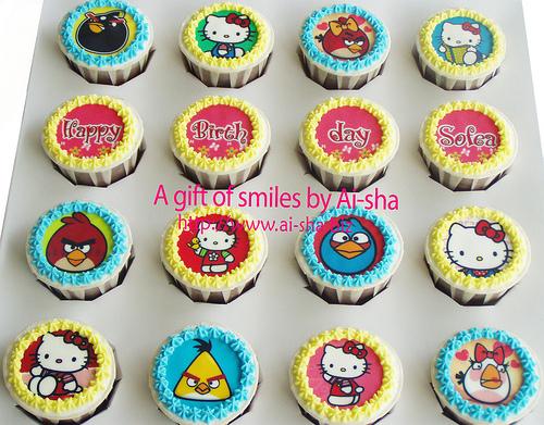 Birthday Cupcake Edible Image Angry Birds & Hello Kitty