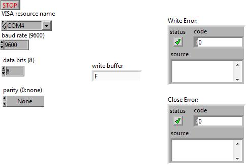 LabVIEW USART connection setting
