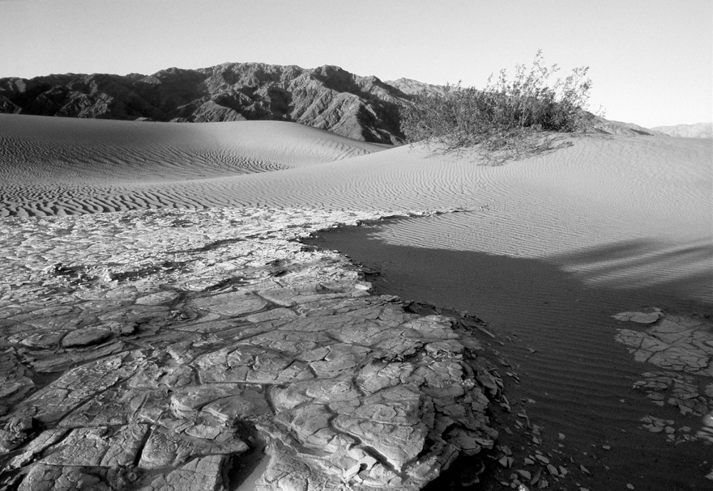 Death Valley sand dunes dry water bed