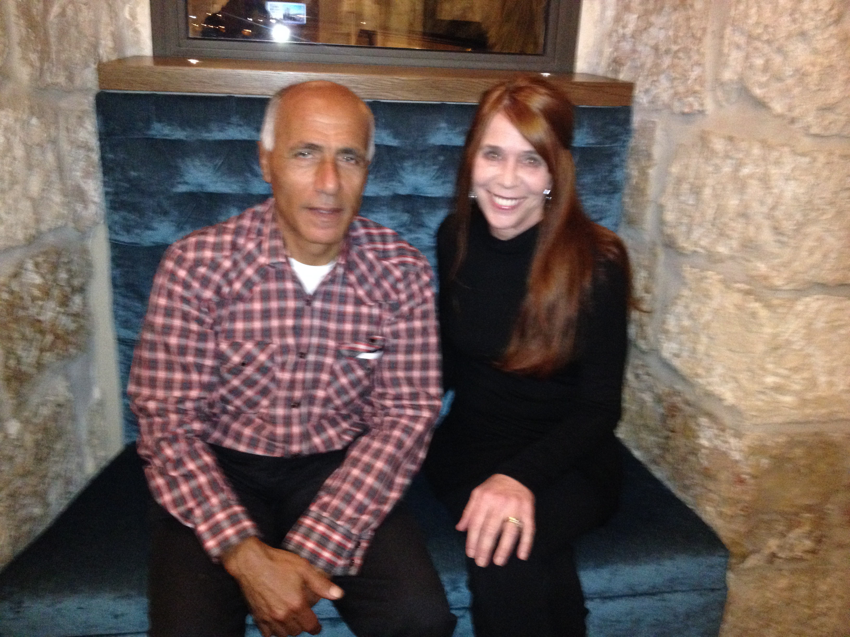 Eileen Fleming and Mordechai Vanunu, Israel's Nuclear Whistleblower, Nov. 2013, east Jerusalem