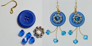 Favorite Buttons Wire Twist Crystal Earrings