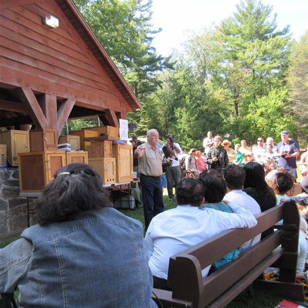 Photos from Mt Tom Reservation Visitor Center presentation on Birds of Prey that have been rehabilitated after being injured.