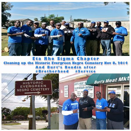 Eta Rho Sigma Chapter Cleaning up the Historic Evergreen Negro Cemetery Nov 8, 2014And Burt's Boudin after #Brotherhood #Service