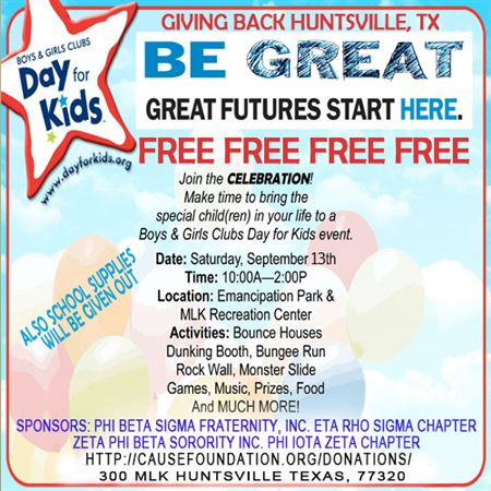 "Eta Rho Sigma Chapter and Phi IotaZeta are soliciting donations to assist in a ""Day for Kids"" 2014 sponsored by the Boys and Girls Club Huntsville.The event will take place September 13, 2014, Mar"