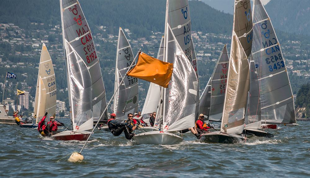 Photos by Nancii Bernard and John Lavery of the 2013 5O5 Pacific Coast Championships, held on English Bay and hosted by KYC from 5 to 7 July.