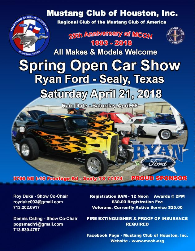 Pictures from the MCOH Annual Spring Open Car Show to be held at Ryan Ford - Sealy