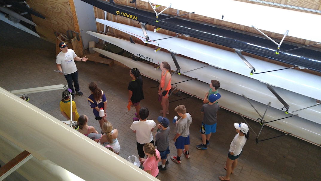 kids in the boat, rowing camp