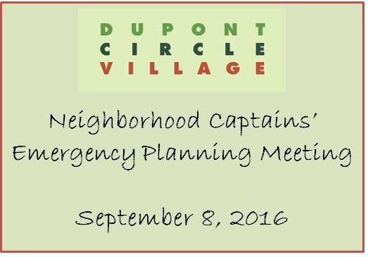 DCV captains of their neighborhoods meet to discuss emergency preparedness to assist members. 9/8/2016