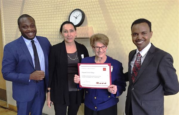 Wells Fargo presents a certificate to DCV for outstanding committment to the greater Washington DC community. 11/5/2015