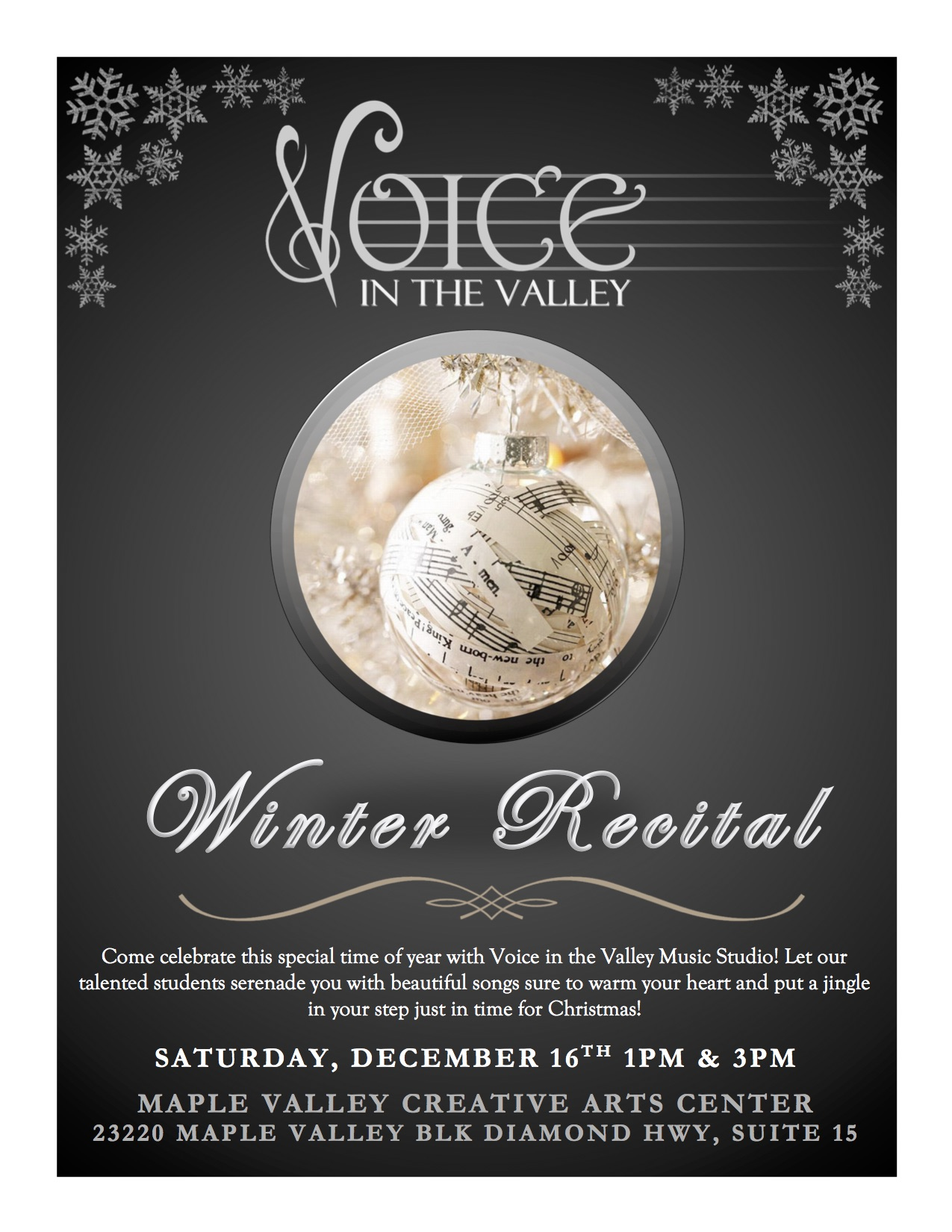 Voice in the Valley Winter Recital Poster 2017