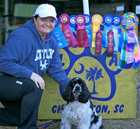 Handlers and theirs dogs with their ribbons
