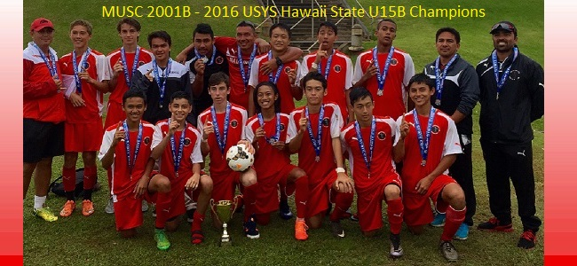 Congratulations to 2001 Boys - 2016 USYS U15B Hawaii State Champions