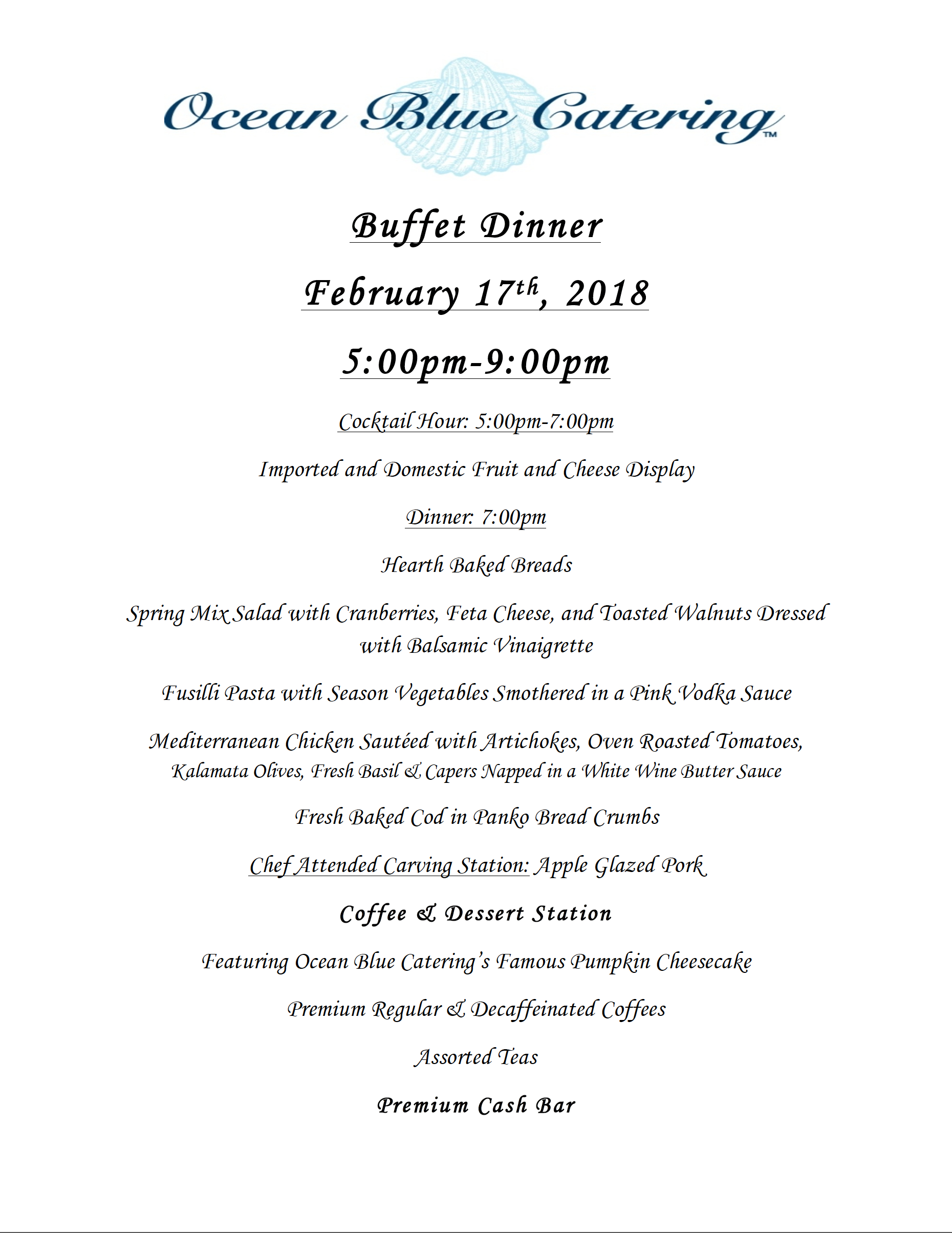 2018 Winter Dinner Menu