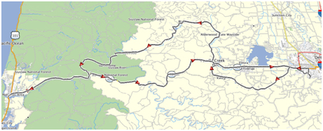 Eugene to Florence Ride MAp