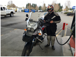 Tim Cruse fueling his GS.