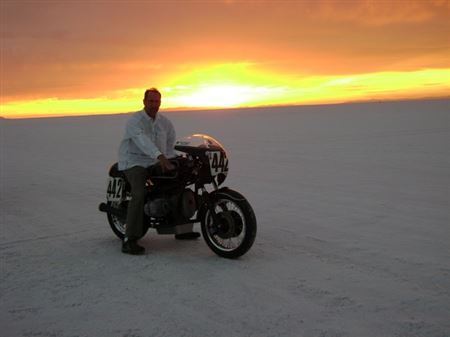 2010:  Bub event at the Bonneville Salt Flats.  Ran 115 mph in the mile 116 in km.  Continued on to Vintage GP at Miller Motorsports in Utah and placed 5th and 6th.