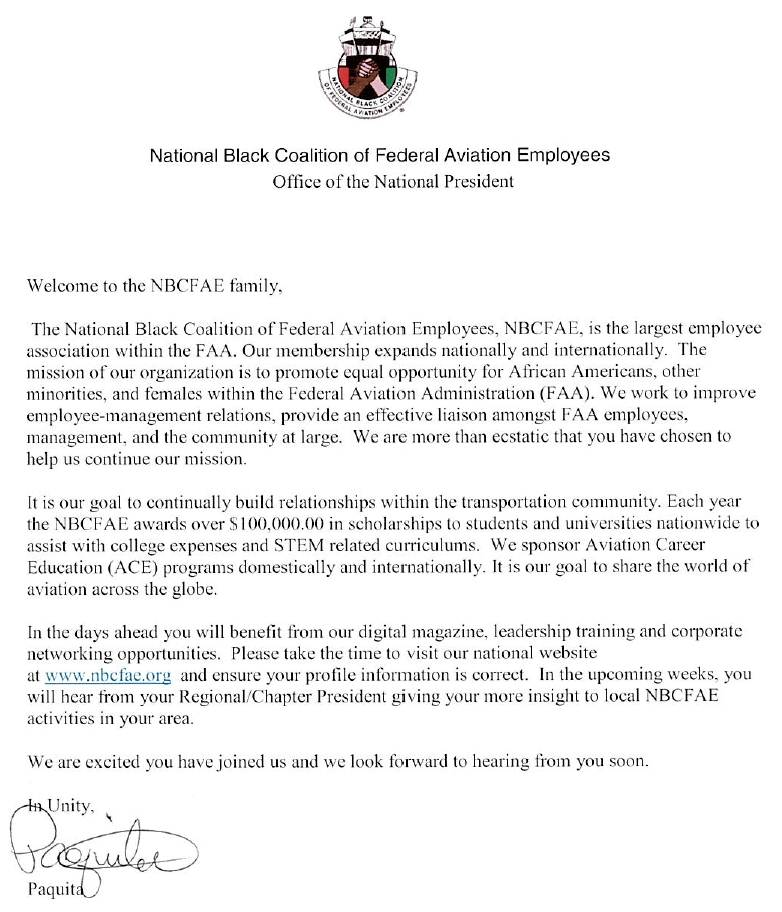 letter from the president national black coalition of federal aviation employees