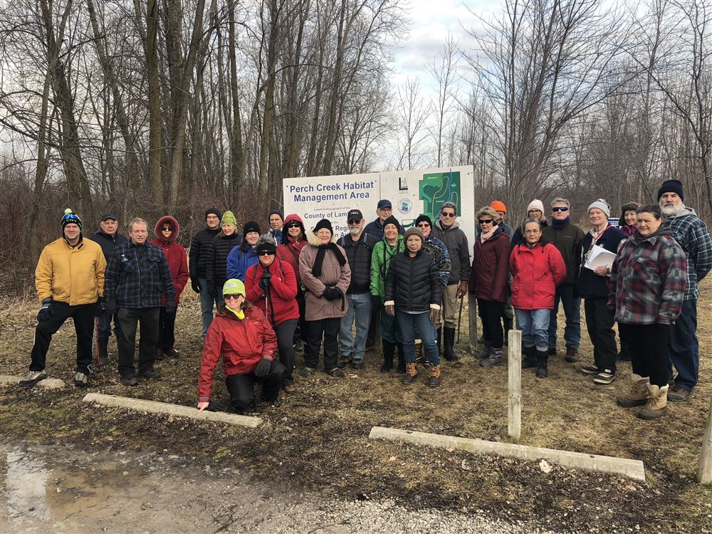 About 38 participants, including several new and prospective members enjoyed an unusually mild January morning hike even with some icy and muddy trails. Very popular event.