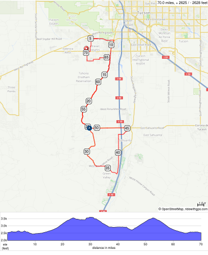 Mission Road Ramble 70 mile Loop