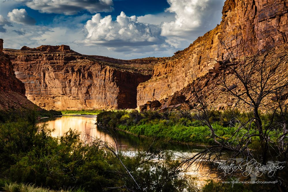 Westwater Canyon, Castle Valley, and the Fisher Towers along the Colorado River upriver from Moab, Utah