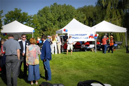 Boulder County Republicans evening Social held August 20, 2016 at the home of Bill and Lemoine Dowd, High Point Farm.  Event catered by Pasta Jay's and sponsored by Boulder Republican Women