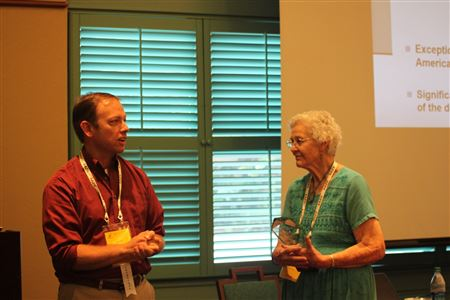 Audrey Fowler accepts the first Murray E. Fowler Lifetime Achievement Award.