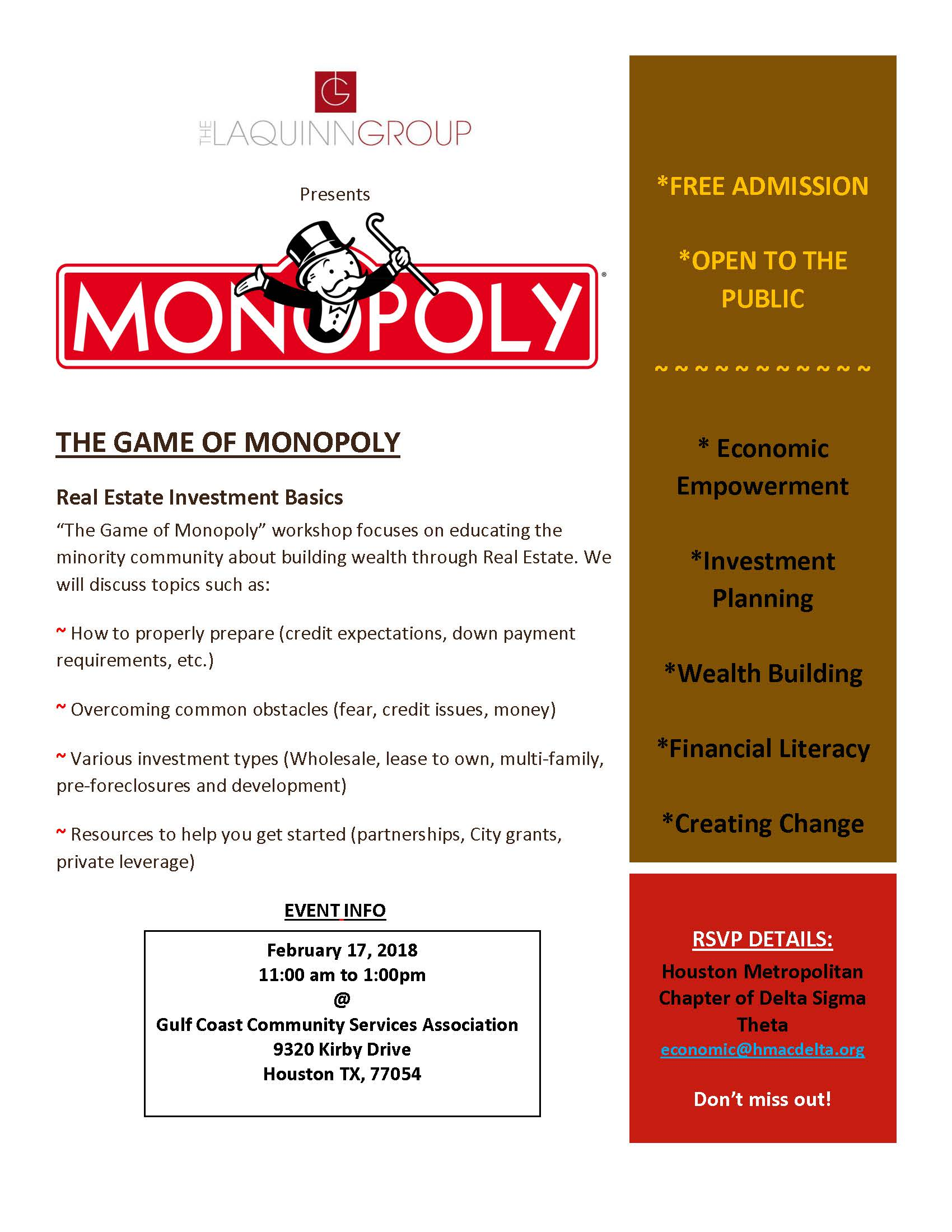 Economic Development Monopoly Game Flyer