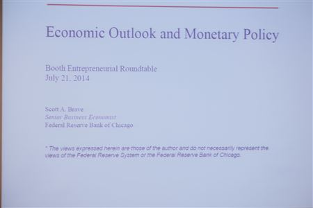 Still photos of the 7/21/14 ER event.  Presentation by Scott Brave, Senior Business Economist, Federal Reserve Bank of Chicago