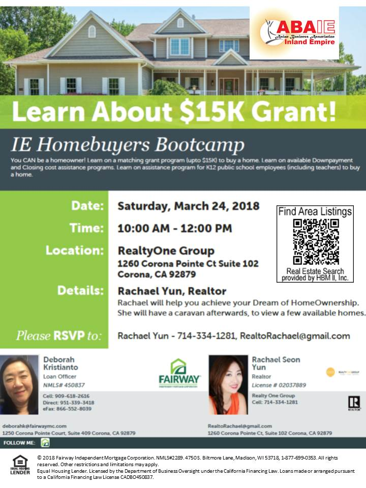 MArch 24 IE Homebuyers Bootcamp