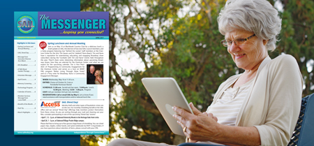 Woman reading April Messenger on her tablet