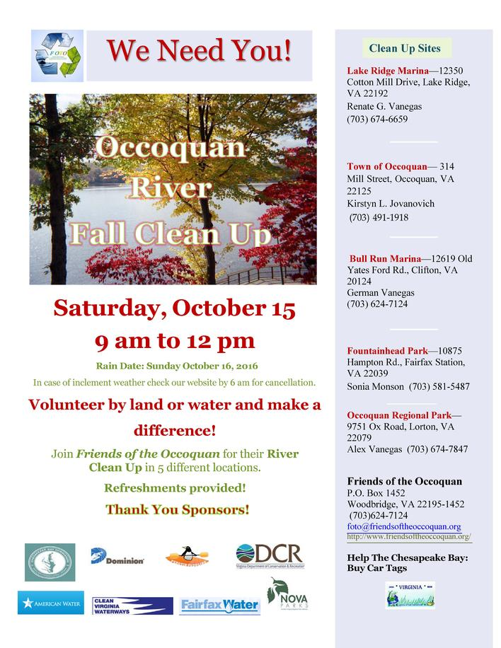 Occoquan River Fall Clean Up Events Canoe Cruisers Association