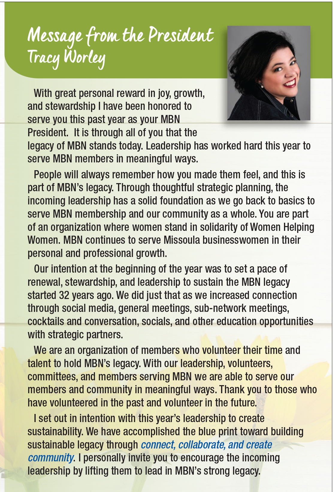 Message from Tracy Worley - MBN President