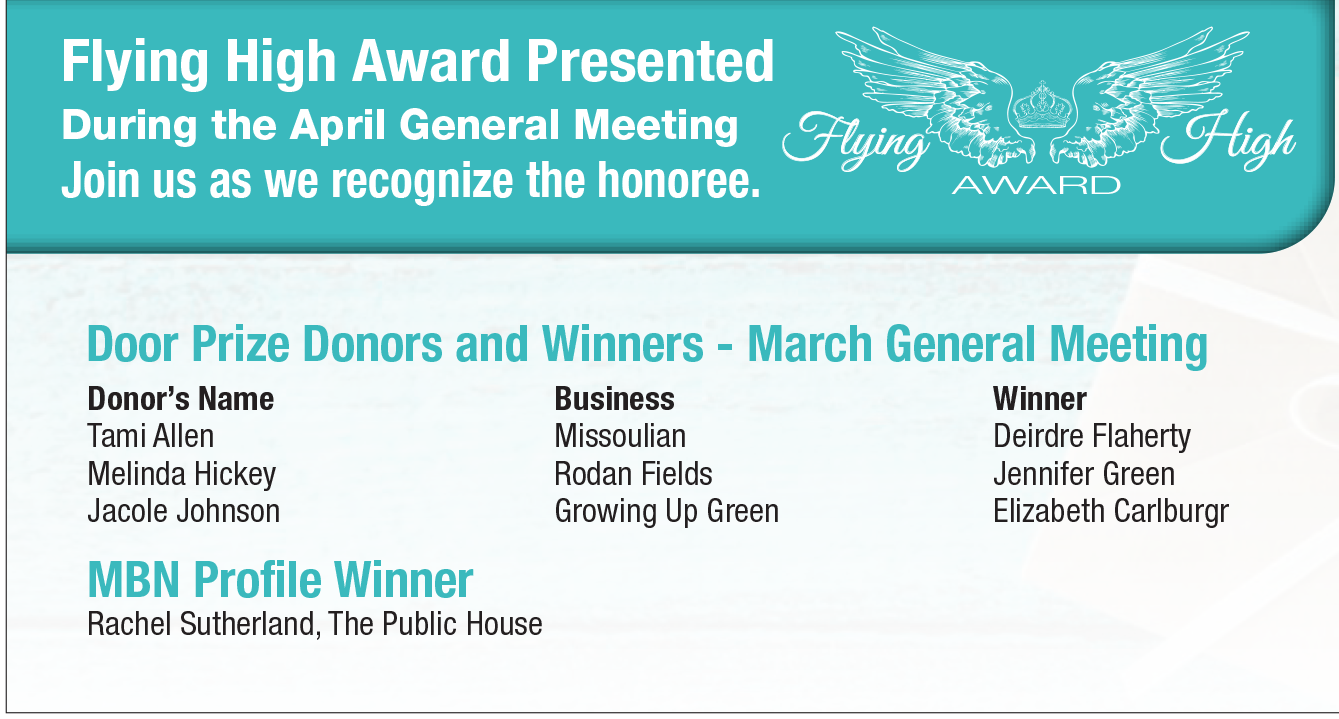 Flying High Award will be presented