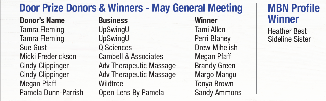 2018 General MBN Meeting May Winners