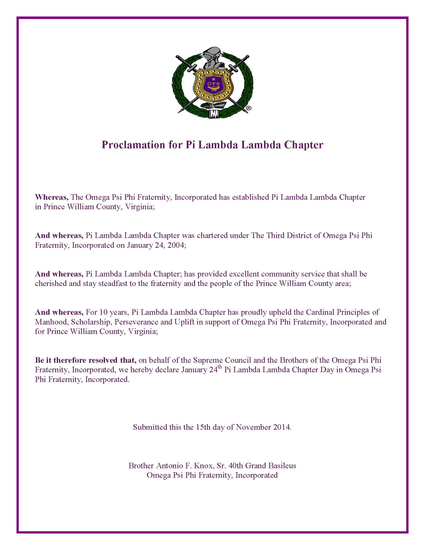 Proclamation for Pi Lambda Lambda Chapter