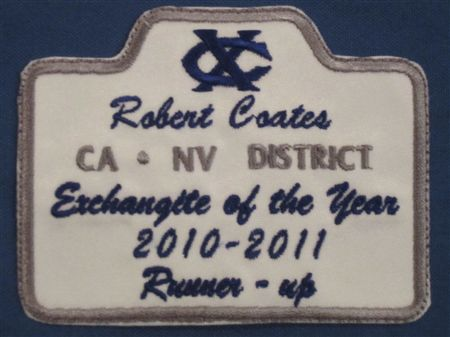 This page shows the patches that we received from District for 2010-2011.  Included are the patches that Bob Coates received as runner-up in the Exchangite of the Year competition and that Brahna Derr