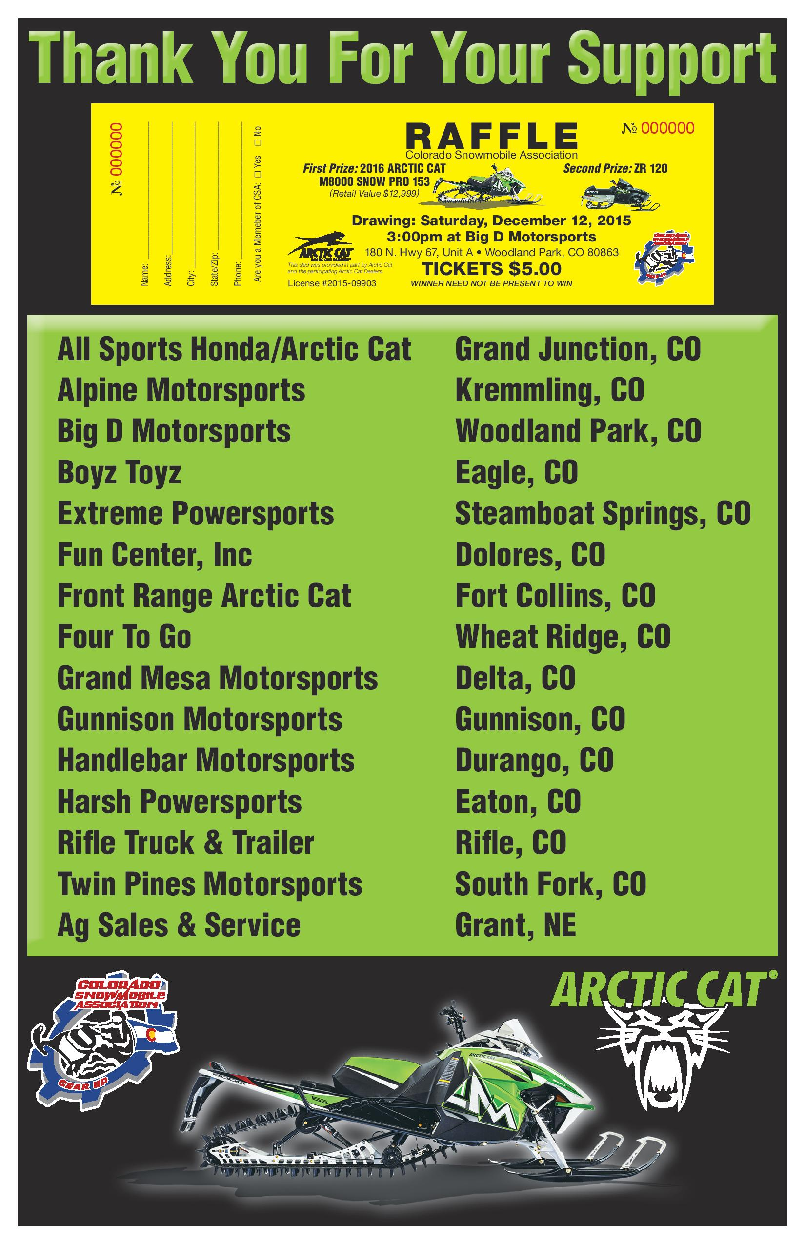 proceeds from raffle benefit colorado snowmobile association and local snowmobile clubs
