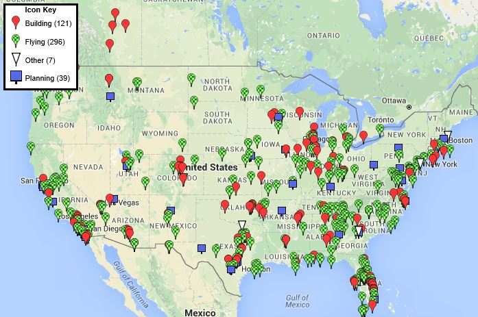 Velocity aircraft community map of owners, builders, and dreamers.