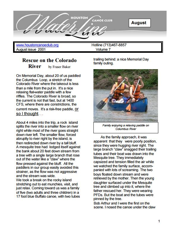 2001 August Newsletter thumbnail